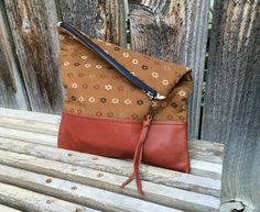 Genuine Leather // Native Fabric // Clutch by indigosoulcompany on Etsy