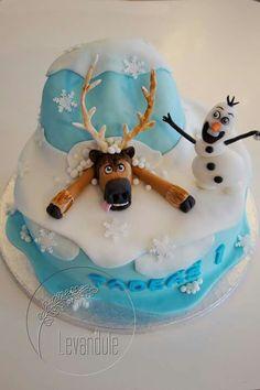Dort Ledové království, Sven a Olaf, Frozen Cake Frozen Cake, Olaf Frozen, Birthday Cake, Desserts, Food, Tailgate Desserts, Deserts, Birthday Cakes, Essen