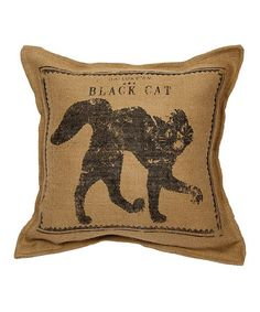 Another great find on #zulily! Natural Cat Burlap Throw Pillow #zulilyfinds