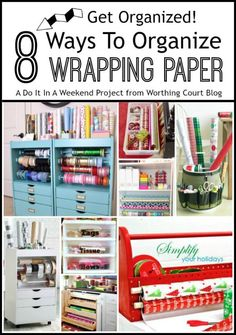 Eight ideas for organizing your wrapping paper and supplies