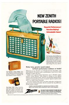 Zenith Portable Radio Ad  1956 The Carnival Model by tennaTATS, $6.99