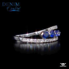 The collection features one of the world's toughest gemstones - the highest quality precious sapphires - which are strategically placed using Le Vian's patent-pending precision mapping technique to set each stone for a sweet faded denim look. Gems Jewelry, Jewelry Accessories, Jewelry Design, Jewlery, Sapphire Jewelry, Diamond Jewelry, Fashion Rings, Fashion Jewelry, Ring Verlobung