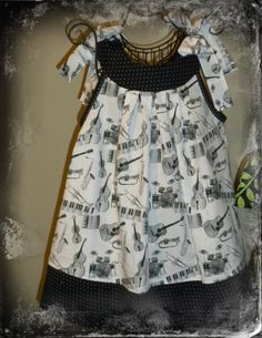 2T Toddler Dress Black and White Musical by sandybiebel on Etsy, $34.95