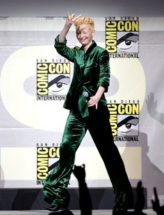 Pin for Later: Don't Miss 1 Wearable Outfit From The Stars at Comic-Con Tilda Swinton Wearing a velvet green suit.