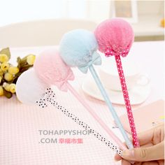 Pompom Ball with Cute Bow Ballpoint Pen