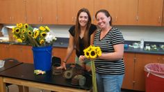 Adalia and stacy doing flowers for wedding