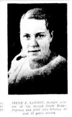 1935 Irene F Lawson, Gympie, winner of the Second Grade Mezzo-Soprano and girls' solo between 16 and 19 years events. Rockhampton Eisteddfod