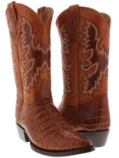 mens cognac brown leather crocodile alligator western rodeo cowboy boots j toe