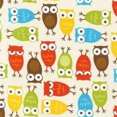Owls Fabric in Bermuda by Ann Kelle