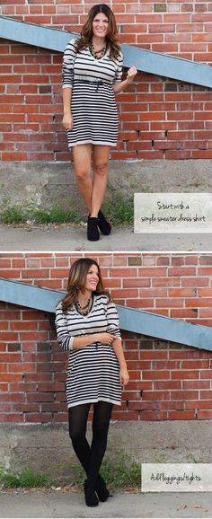 Marionberry Style: How To: Easy Fall Layering with a striped dress