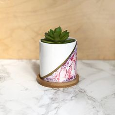 Succulent Planter - Asymmetrical Pink // white ceramic planter, round planter, hostess gift, candle holder, gifts under alcohol ink Alcohol Ink Crafts, Alcohol Inks, Succulents Diy, Succulent Planters, White Ceramic Planter, Pottery Painting Designs, Painted Plant Pots, Raw Gemstone Jewelry, Concrete Crafts