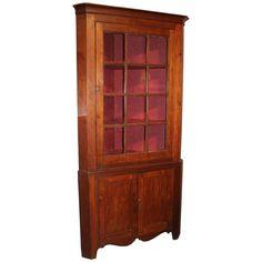 Federal Period Cherry Corner Cupboard with Glazed Door, circa 1820 | 1stdibs.com