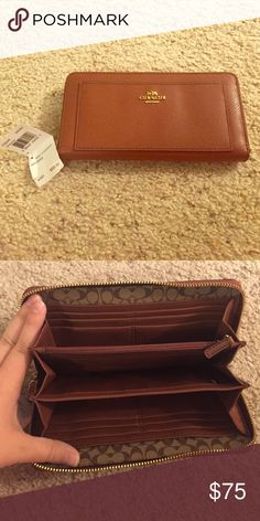 NWT Coach Zip-Around Wallet New with tags Coach leather zip-around wallet. Saddle color. Has 12 card slots and a zippered coin pocket. Has been sitting in my closet and I would love to pass it on to someone who will use it! Coach Bags Wallets