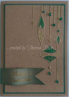 handmmade Christmas card from craf-ther: green and gold ... kraft base ... Stickles ... hanging baubles ...