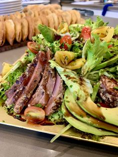 Fancy combination of greens with grilled tuna, avocado, cherry tomatoes, grilled pineapple and a perfect mustard dressing. Tuna Avocado, Tuna Salad, Roasted Pineapple, Grilled Tuna, Mustard Dressing, Pesto Sauce, Personal Chef, Fresh Coriander, Executive Chef