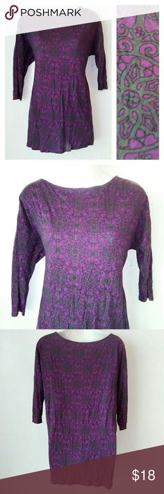 Juicy Couture Purple Print Tee Crew neck Purple and gray print tee with 3/4 length sleeves. Material is cotton blend. Excellent like new condition. B13 Juicy Couture Tops Tees - Long Sleeve