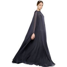 beautiful dress for pregnancy VALENTINO Silk Chiffon Cape Dress (10 640 AUD) found on Polyvore