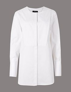 Buy the Pure Cotton Round Neck Long Sleeve Shirt from Marks and Spencer's range. Cropped Trousers, Buy Now, Chef Jackets, Elegant, Stylish, Cotton, Stuff To Buy, Shirts, Shopping