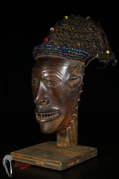 Discover African Art Chokwe Mask from DRC/Angola with Custom Stand