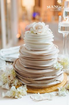 The trendy wedding cake to go along with the mini cupcakes.