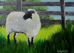 Animal Painting Sulfolk Sheep With Black Face 9x12 Original Oil on Canvas by Cheri Wollenberg