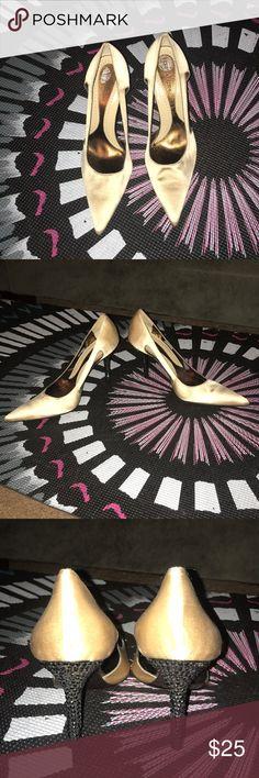 BCBG cream pointed heels-6.5 Cute beige pointed toed heels with black jewels in heels- 6.5 BCBGMaxAzria Shoes Heels