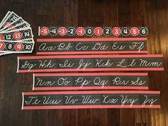 Red & black number line and cursive alphabet (zaner bloser)