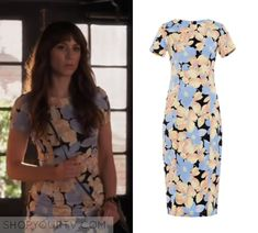 """Spencer Hastings (Troian Bellisario) wears this black yellow and blue flower printed bodycon midi dress in this episode of Pretty Little Liars, """"Burn This"""". ShopYourTv:Pretty Little Liars: Season 6 Episode 18 Spencer's Floral Dress - ShopYourTv"""