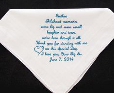 Brother Of The Bride Embroidered Wedding Handkerchief 25 00