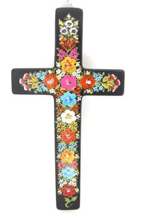 Mexican cross hand painted from Chiapas, Mexico