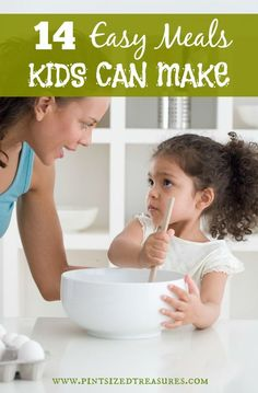 14 Easy meals that can turn your child into your family's top chef! Instill a love for cooking in your child now with these simple, but yummy recipes that are kid-approved! Cooking With Kids Easy, Easy Meals For Kids, Toddler Meals, Kids Meals, Kids Cooking Recipes Easy, Kitchen Recipes, Toddler Recipes, Simple Meals, Simple Recipes