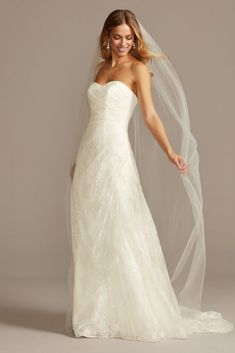 This extra length A-line wedding dress embodies effortless classic elegance thanks to its simple lines, sweetheart neckline, and allover lace. A subtle gathering at the hip creates a bit of intrigue a Affordable Wedding Dresses, Wedding Dresses For Sale, Bridal Wedding Dresses, Wedding Dress Styles, Designer Wedding Dresses, Lace Wedding, Dream Wedding, Diy Wedding, Davids Bridal