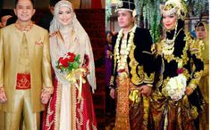 muslim wedding - Minang modern style (left side) and javanese style (right side). #indonesia #wedding #hijab #syari #khimar #javanesestyle #minangstyle