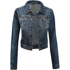LE3NO Womens Vintage Cropped Denim Jacket ($31) ❤ liked on Polyvore featuring outerwear, jackets, vintage denim jacket, denim jacket, vintage jacket, blue jackets and vintage jean jacket