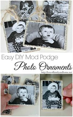 Mod Podge Photo Ornaments (Tutorial) - Love of Family & Home - Happy Christmas - Noel 2020 ideas-Happy New Year-Christmas Diy Photo Ornaments, Photo Christmas Ornaments, Christmas Projects, Christmas Photos, Winter Christmas, Holiday Crafts, Holiday Fun, Christmas Holidays, Christmas Decorations