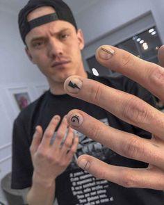 Short Nail Manicure, Edgy Nails, Stylish Nails, Short Nails, Swag Nails, Cute Nails, Phenix Tattoo, Men Nail Polish, Mens Nails