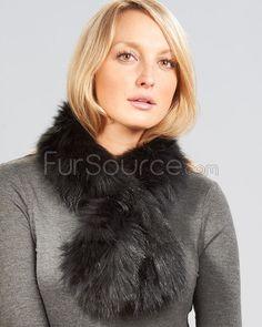 Knit Fox Fur Pull Through Scarf Black : Fox Fur Scarves Mink Fur, Fox Fur, Bell Bottoms, Fur Scarves, Fur Coat, Winter Hats, Jackets, Black, Fashion