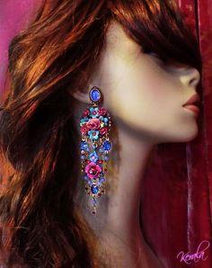 Long Sapphire Blue Crystal Flower Chandelier Earrings by kerala, $68.00