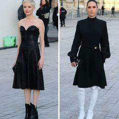 Duas lindas inspirações do desfile de outono, da Louis Vuitton, em Paris. Michelle Williams de vestido de couro e botas, pretos. E Jennifer Connelly de vestido preto e botas brancas.♥️💥 #beautiful #michellewilliams #jenniferconnelly #fashionstyles #inspirations #louisvuitton #fashionshow #fall2017 #pfw