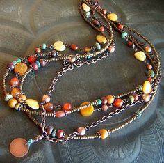 Multistrand Copper and Mixed Gemstone Beaded by yuccabloom on Etsy