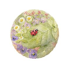 A beautiful print based on a ladybug watercolor painting by Kathleen Maunder