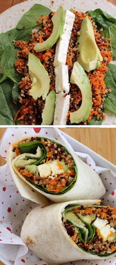 Quinoa Wrap with Avocado, Spinach and Feta - Easy Dinner Recipes for Two - Click for Recipe