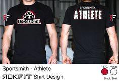 Sportsmith tshirt designed by ROKFIT Crossfit Clothes, Catalog Cover, Shirt Designs, Marketing, Mens Tops, T Shirt, Black, Fashion, Supreme T Shirt