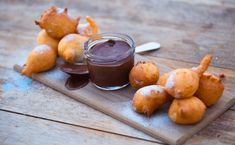 Vetkoek with Chocolate-Orange Dipping Sauce - Sarah Graham Food Chocolate Dipping Sauce, Chocolate Orange, Chocolate Dipped, Graham Recipe, Sarah Graham, Vegetarian Recipes, Cooking Recipes, Bread Recipes, Kitchens