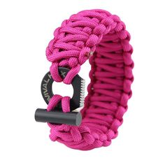 Order Now! The adjustable Paracord Survival Bracelet includes a serrated edge eye knife saw and a fire starter flint which connects the two ends. The bracelet can then be adjusted to fit different siz