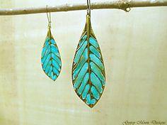 boho Leaf earrings turquoise mint Bohemian by Gypsymoondesigns, $16.00