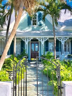 gables held up by two-story columns supporting a triangle pediment Florida Style, Florida Home, South Florida, Key West Cottage, Key West Beaches, Tropical Beach Houses, Key West Style, Colonial House Plans, House Shutters