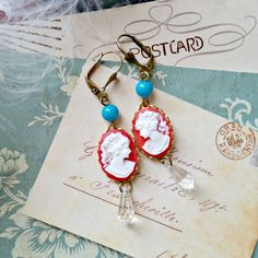 red cameo earrings, recycled beads, shabby chic, retro turquoise blue, flea market, left right facing cameos by FabFleaMarket on Etsy