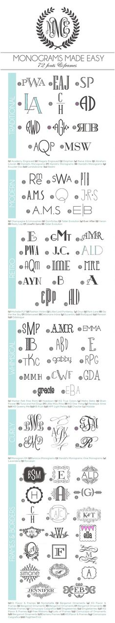 Monograms Made Easy: 72 Fonts & Frames - Fonts - Ideas of Fonts - A library of 72 monogram fonts & frames with links (most of them free) Compiled by Amber of Damask Love Photoshop, Do It Yourself Quotes, Inkscape Tutorials, Pattern Texture, Techniques Couture, Cricut Fonts, Web Design, Logo Design, Alphabet