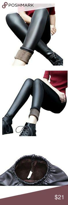 Winter slim pants Faux leather fleece inside slim pants Pants Skinny